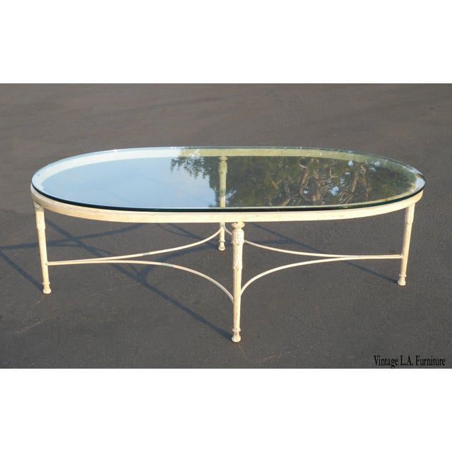 Vintage French Country Style Oval Off-White Iron Glass Top