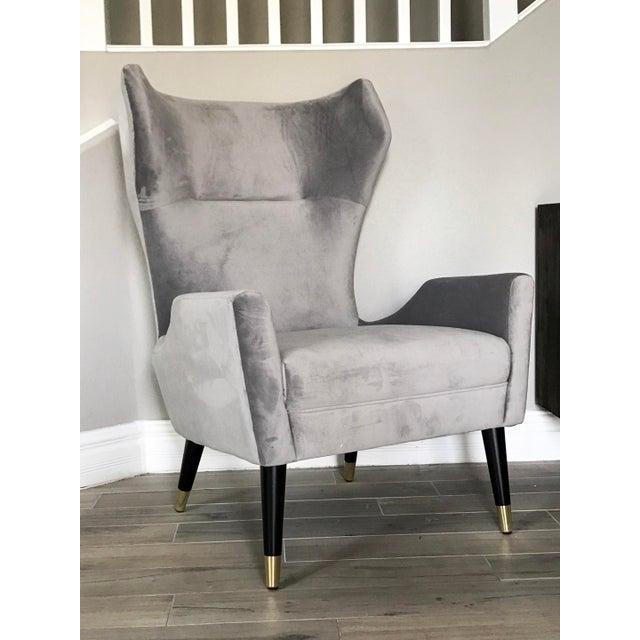 Grey Velvet Italian Modern Style Wingback Chair For Sale In Las Vegas - Image 6 of 6