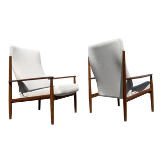 Pair Mid Century Modern Scandinavian Lounge Highback Chairs by Grete Jalk For Sale