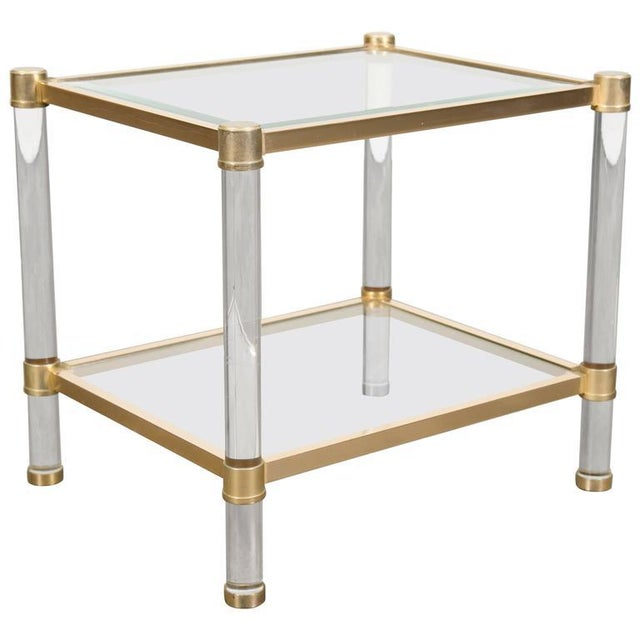 French Rectangular Lucite and Brass Two Tier Side Table For Sale - Image 12 of 12