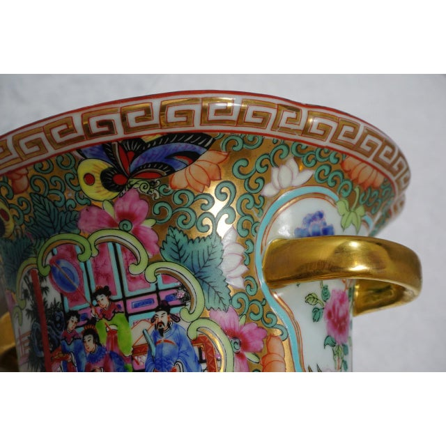 Ceramic Vintage Chinese Rose Medallion Vase With Gold Handles For Sale - Image 7 of 9