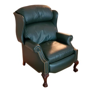 1990s Traditional Hancock and Moore Wingback Leather Recliner For Sale