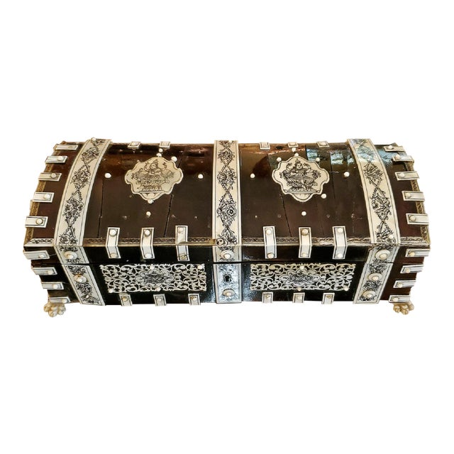 19th Century Anglo Indian Vizagapatam Dark Shell and Faux Ivory Glove Box For Sale