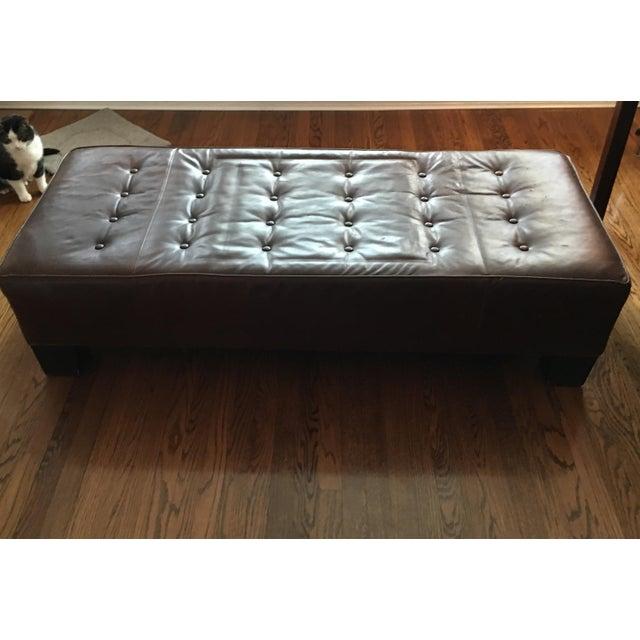 Restoration Hardware Leather Bench - Image 2 of 5