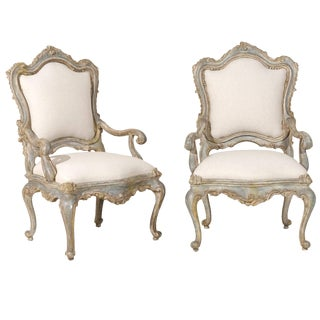 Vintage Mid Century Italian Venetian Style Painted Armchairs- A Pair For Sale