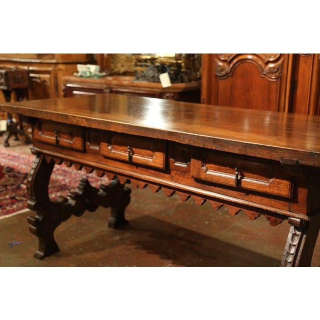Important 18th Century Spanish Carved Walnut Console Table With Secret Drawers For Sale - Image 11 of 12