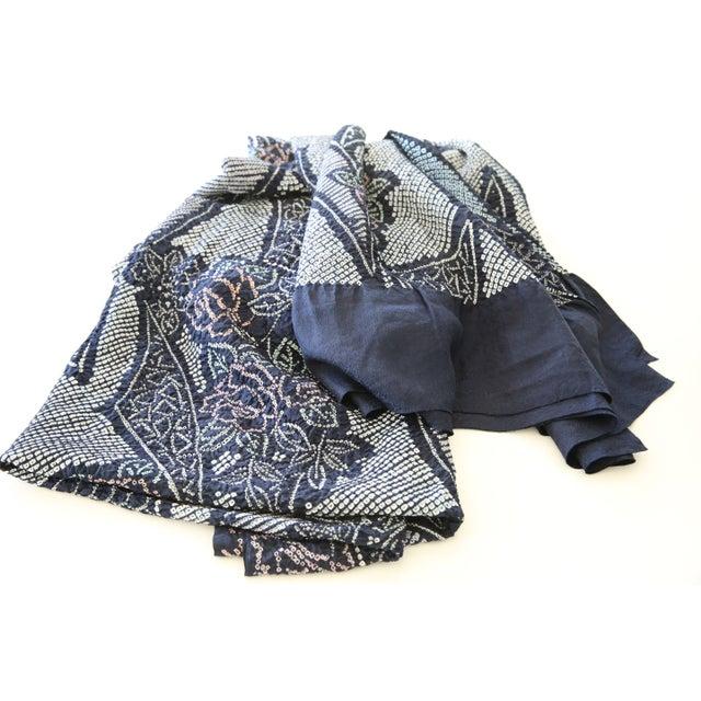 "Shibori Silk Table Cloth Indigo Blue 44"" x 144"" - Image 5 of 5"