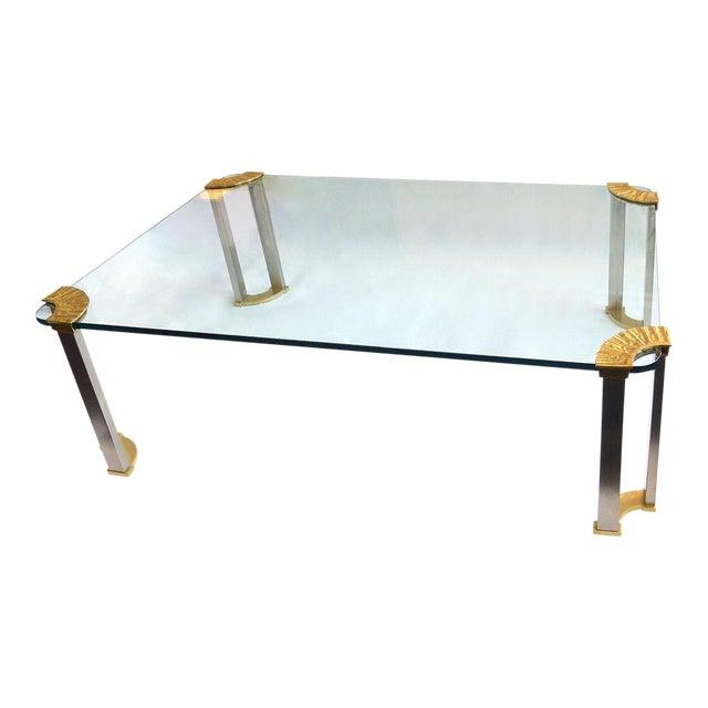 Italian Modernist Glass & Bronze Coffee Table For Sale