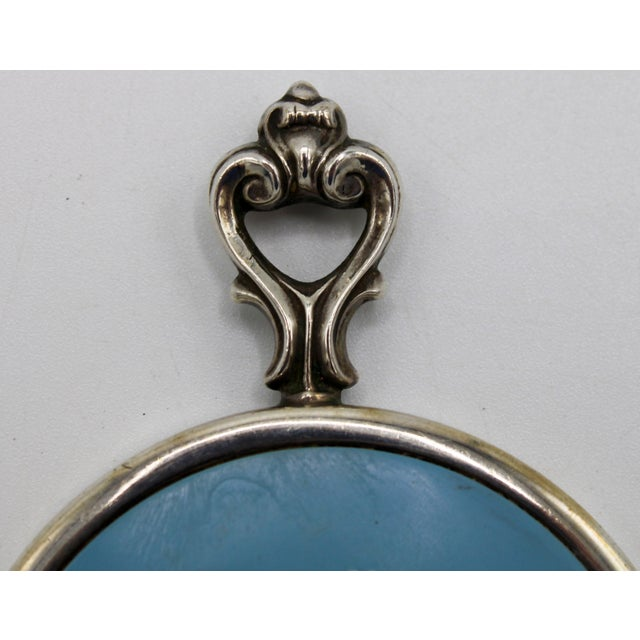 Jasperware Style Sterling Silver Wedgewood Purse Mirror For Sale - Image 6 of 8