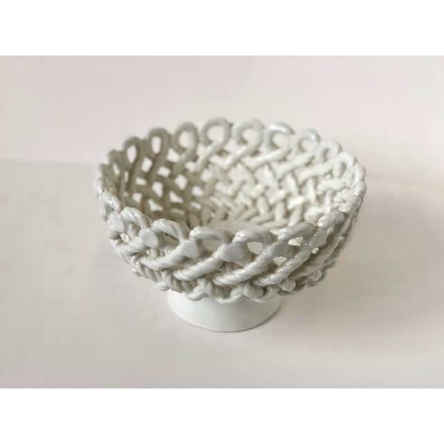 Hollywood Regency Italian Woven Rope White Ceramic Compote For Sale - Image 3 of 12