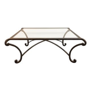Wrought Iron & Glass Coffee Table For Sale