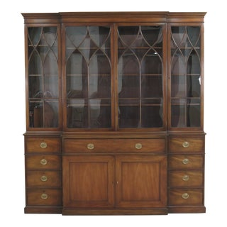 1970s Traditional Kittinger Monumental 4 Door Mahogany Breakfront Bookcase For Sale