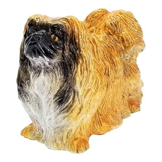 Large Vintage Italian Ceramic Pekingese Dog Floor Sculpture - Labeled - Hand Painted For Sale