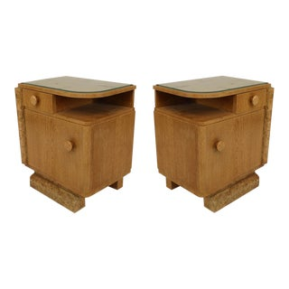 Pair Of French Art Deco Oak And Burl Wood Trim Bedside Commodes