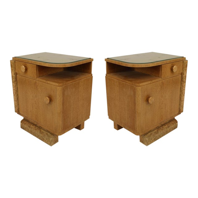 Lovely Pair Of French Art Deco Oak And Burl Wood Trim Bedside ...
