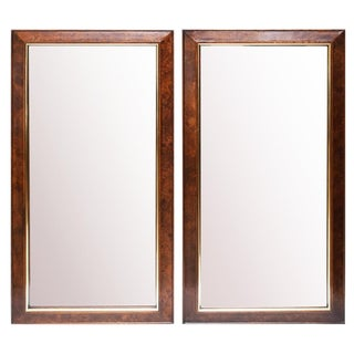 Mid Century Campaign Style Burl Wood & Brass Mirrors - a Pair For Sale