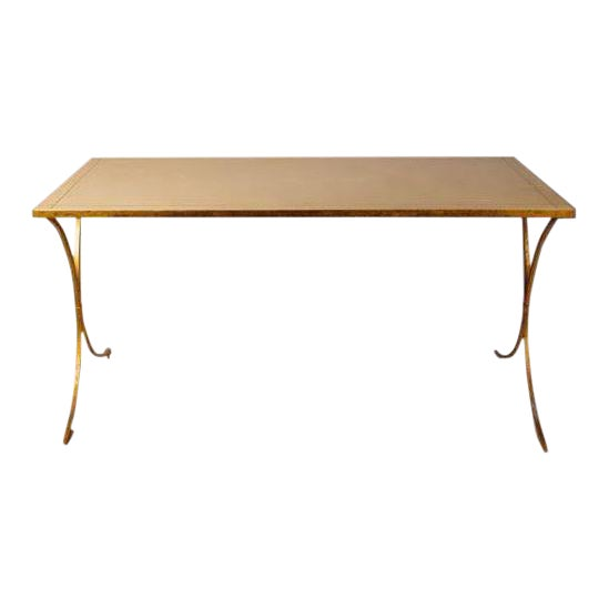 French Gilt Leather Top Desk For Sale