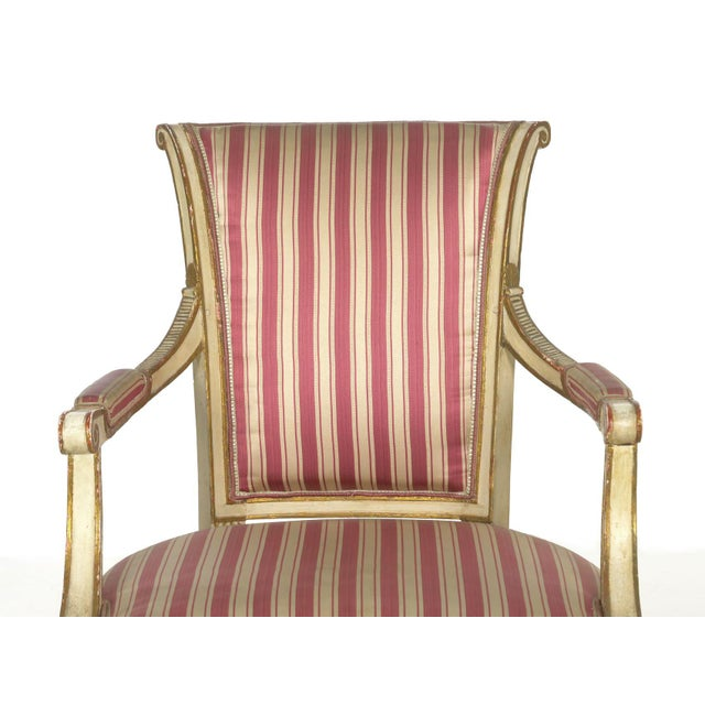 Set of Four Neoclassical White-Painted French Accent Arm Chairs, 19th Century For Sale - Image 6 of 13