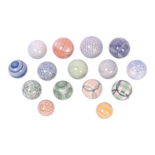 English Porcelain Balls - Set of 15 For Sale