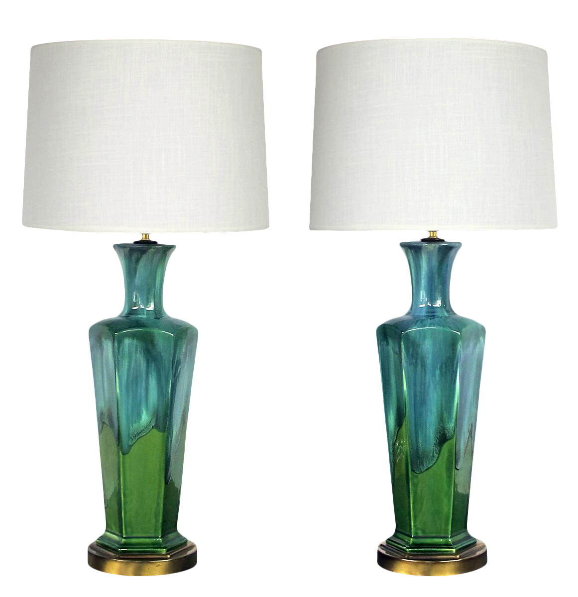 Image of: Mid Century Modern Blue And Green Drip Glaze Hexagonal Lamps With Shades A Pair Chairish