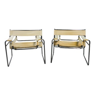 1980s Marcel Breuer Wassily Style Chrome & Canvas Armchairs - a Pair For Sale