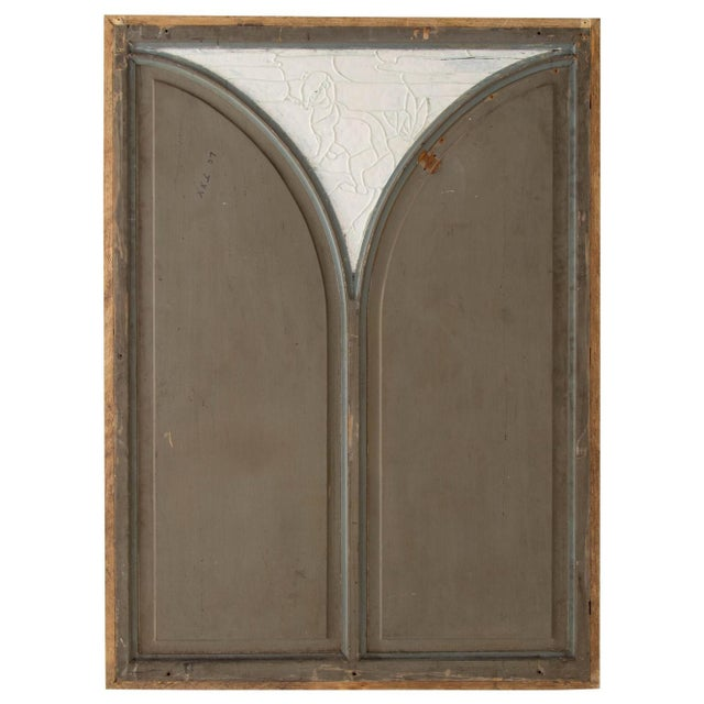 Large Oak Mirror W/ Stained Glass Ermine For Sale In Chicago - Image 6 of 8