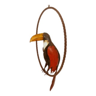 Rustic Recycled Iron Hanging Toucan Sculpture For Sale