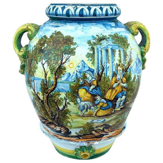 Italian Majolica Scenic Olive Oil Jar/ Jardinière, Provenance Celine Dion For Sale - Image 12 of 12
