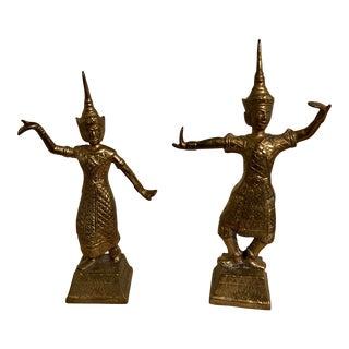 Thai Brass Dancer Figurines - a Pair For Sale