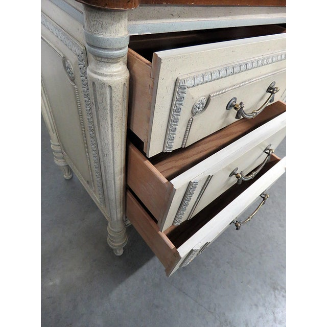 Louis XV Style Fruitwood Top Distressed Painted Sideboard For Sale - Image 9 of 13