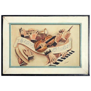 """Carlo of Hollywood """"Jazz Band"""" Watercolor Painting For Sale"""
