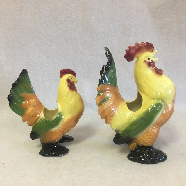 Vintage Ceramic Chicken & Rooster Planters-A Pair For Sale - Image 4 of 10