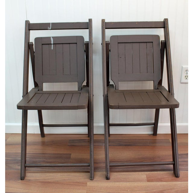 Antique Dark Taupe Painted Folding Chairs - Pair - Image 2 of 8