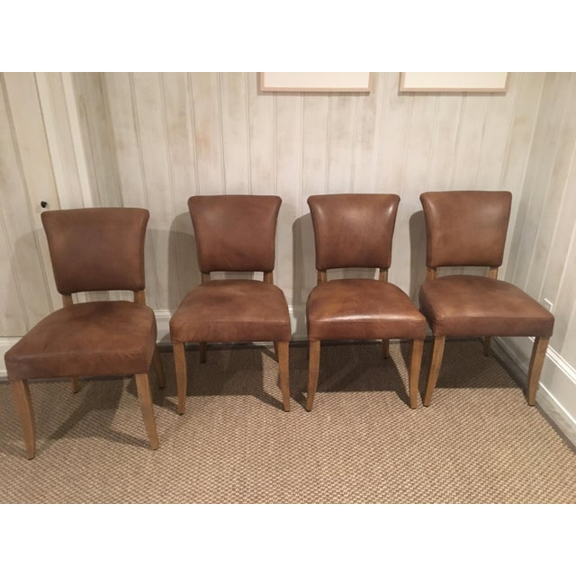 Brilliant Restoration Hardware Adele Leather Side Chair Set Of 4 Machost Co Dining Chair Design Ideas Machostcouk