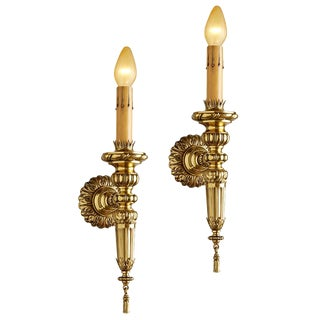 Pair of Stately Brass Classical Sconces by Caldwell Circa 1910s