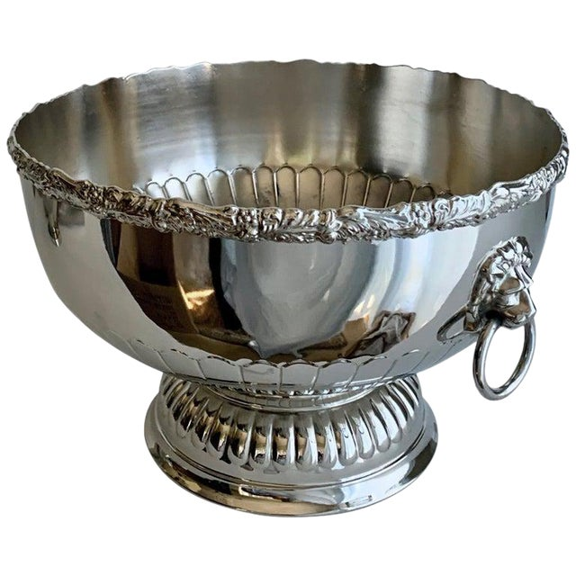 English Silver Punch Bowl With Rim and Lion Handle Details For Sale