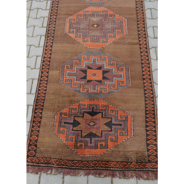 Hand Knotted Turkish Runner Rug - 3′11″ × 10′9″ - Image 8 of 10
