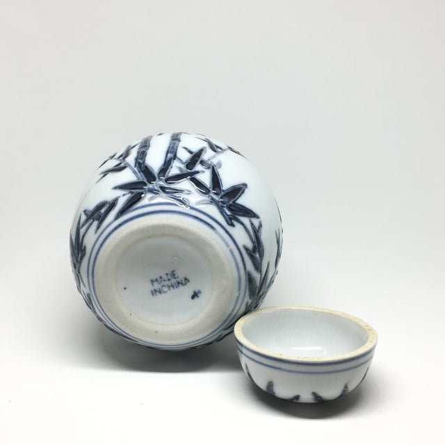 Hand-Painted Navy Bamboo Ginger Jar - Image 5 of 7