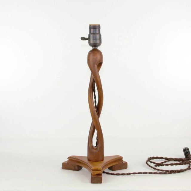 American Artisanal Wood Table Lamp For Sale - Image 3 of 6
