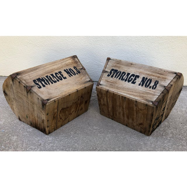 Industrial Early 20th Century Antique Wooden Storage Containers - A Pair For Sale - Image 3 of 5