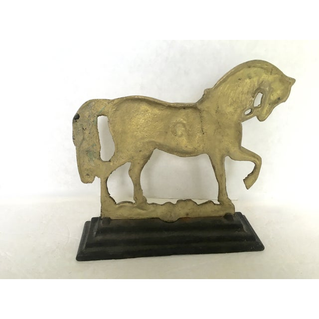 Flat-Back Brass and Cast Iron Horse Door Stop - Image 4 of 4