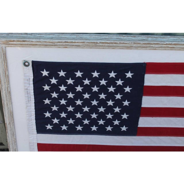 Mid-20th Century 50 Star American Ships Flag with Custom Frame - Image 3 of 5