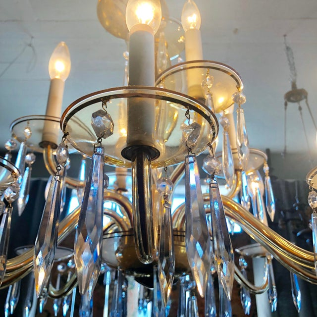 1950s Mid-Century Modern Amber Murano Glass Two Tier 12 Light Chandelier For Sale - Image 11 of 13