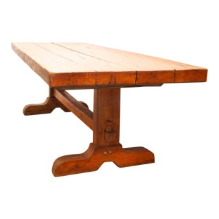 Large 19th C. French Chestnut Trestle Table