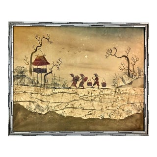 Late 20th Century Chinoiserie Watercolor on Silk For Sale
