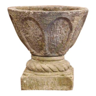 19th Century French Two-Piece Carved Patinated Stone Planter With Motifs For Sale