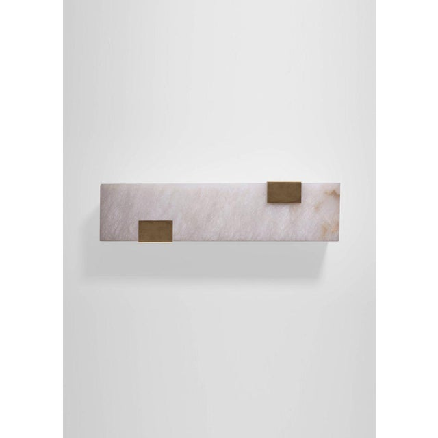 Modern Contemporary 003-2c Sconce in Brushed Brass and Alabaster by Orphan Work For Sale - Image 9 of 10