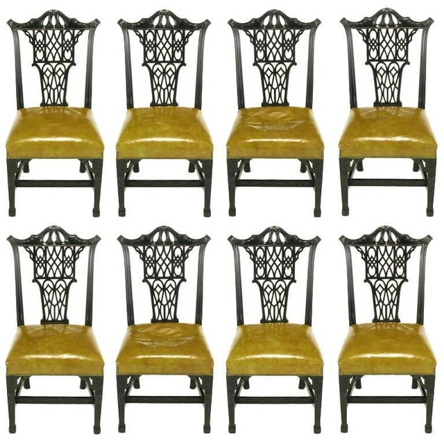 Eight Chinese Chippendale Ebonized Mahogany Dining Chairs with Leather Seats - Image 10 of 10
