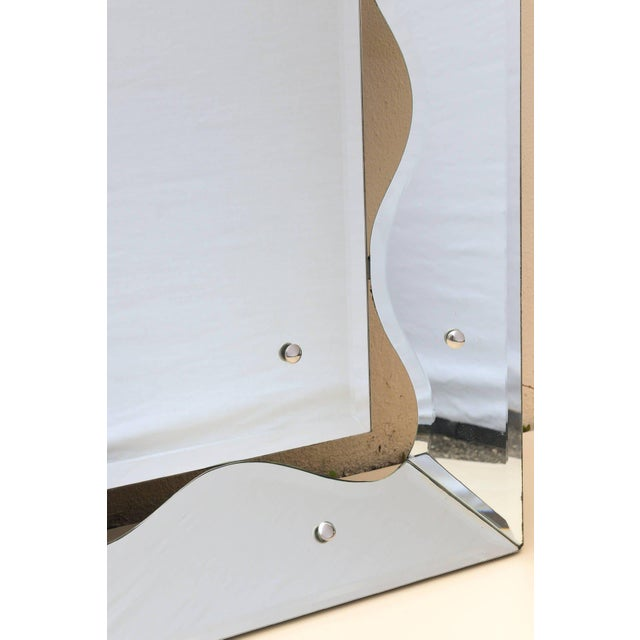 Mid-Century Modern 1950s Hollywood Regency Monumental Scalloped Horizontal Mirror Final Markdown For Sale - Image 3 of 9