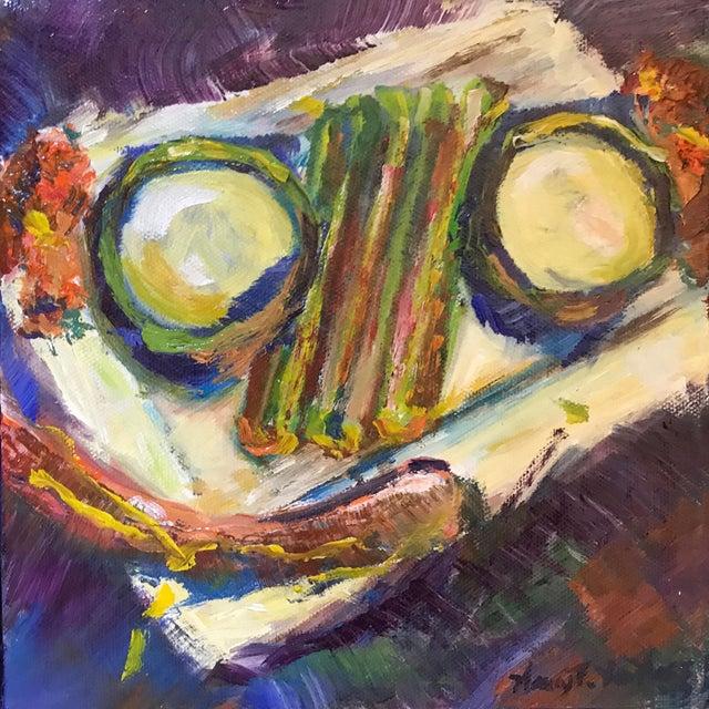"Illustration ""Dinner"" Original Framed Oil Painting For Sale - Image 3 of 6"
